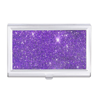 Trendy Purple Sparkling Glitter Glitz Business Card Holder