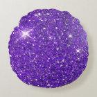 Trendy Purple Sparkling Glitter Glitz Round Cushion