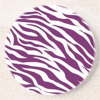Trendy Purple White Zebra Stripe Wild Animal Print Drink Coaster
