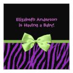 Trendy Purple Zebra Print And Ribbon Baby Shower 13 Cm X 13 Cm Square Invitation Card