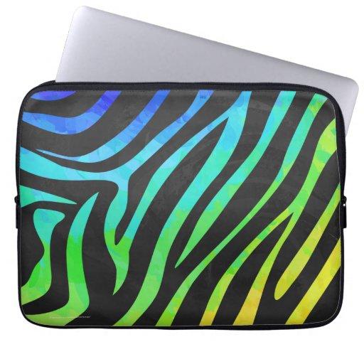 Trendy Rainbow and Black Zebra Animal Print on ele Laptop Sleeves