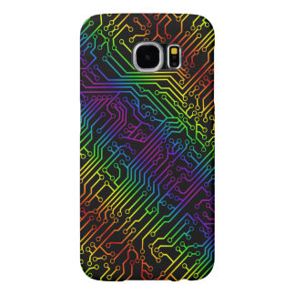 Trendy Rainbow Circuit Board Pattern Samsung Galaxy S6 Cases