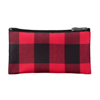 Trendy Red and Black Cosy Buffalo Plaid Cosmetic Bag