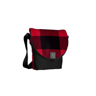 Trendy Red and Black Cozy Buffalo Plaid Messenger Bags