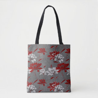 Trendy Red and Charcoal Gray Floral Print Tote Bag