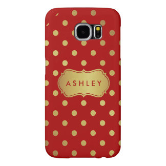 Trendy Red and Gold Girly Polka Dots Pattern Samsung Galaxy S6 Cases