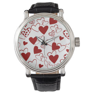Trendy Red and White Heart Pattern Wrist Watch