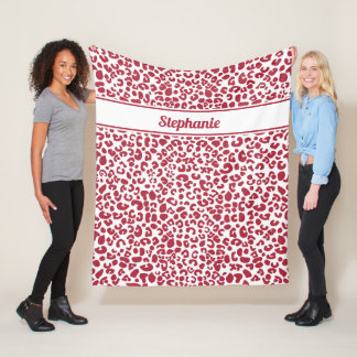 Trendy Red and White Leopard Print With Name Fleece Blanket