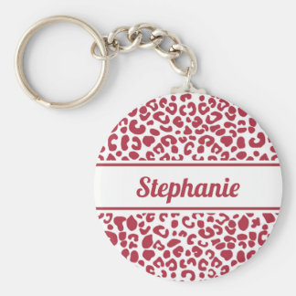 Trendy Red and White Leopard Print With Name Key Ring