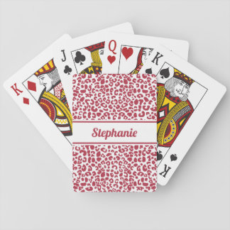 Trendy Red and White Leopard Print With Name Playing Cards