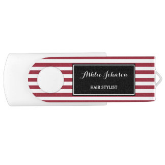 Trendy Red and White Stripes Salon Hair Stylist Swivel USB 3.0 Flash Drive