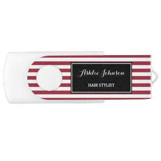 Trendy Red and White Stripes Salon Hair Stylist Swivel USB 3.0 Flash Drive