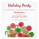 Trendy red Christmas gingerbreads Personalized Announcements