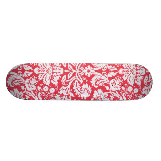Trendy Red Damask Pattern Custom Skateboard