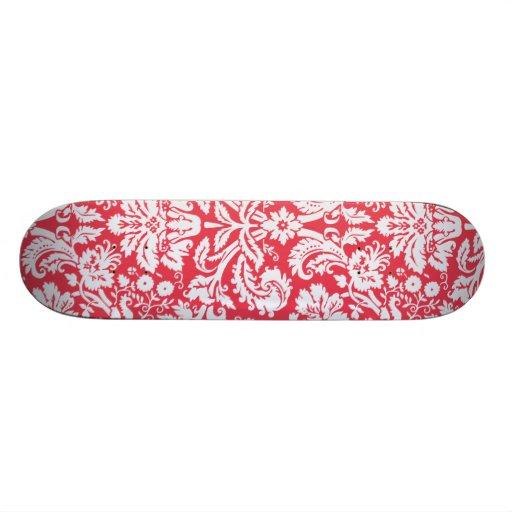 Trendy Red Damask Pattern Custom Skateboard