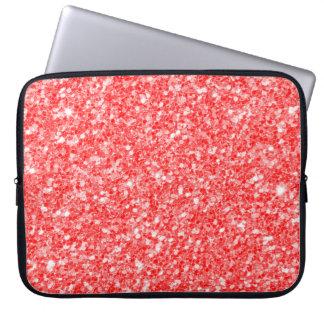 Trendy Red Glitter White Sparks Laptop Sleeve