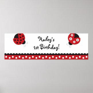 Trendy Red Ladybug Birthday Banner Sign Poster