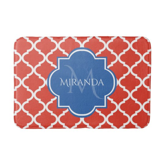 Trendy Red Quatrefoil Blue Monogram and Name Bath Mat