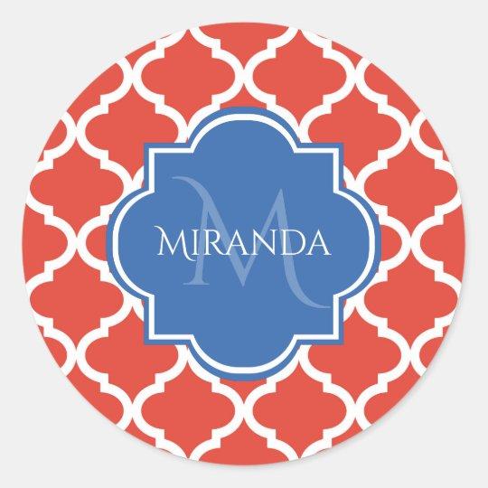 Trendy Red Quatrefoil Blue Monogram and Name Classic Round Sticker