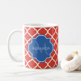 Trendy Red Quatrefoil Blue Monogram and Name Coffee Mug