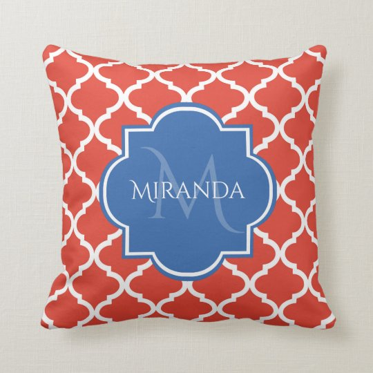 Trendy Red Quatrefoil Blue Monogram and Name Cushion