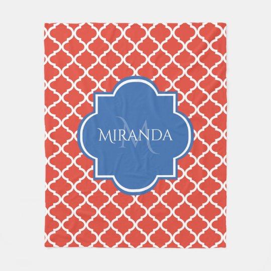 Trendy Red Quatrefoil Blue Monogram and Name Fleece Blanket