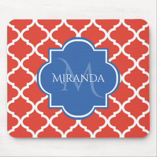 Trendy Red Quatrefoil Blue Monogram and Name Mouse Pad