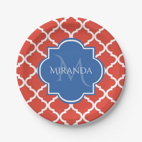 Trendy Red Quatrefoil Blue Monogram and Name Paper Plate