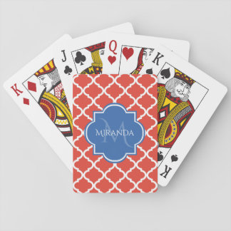 Trendy Red Quatrefoil Blue Monogram and Name Playing Cards