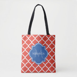 Trendy Red Quatrefoil Blue Monogram and Name Tote Bag