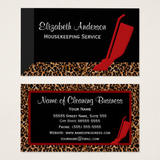 Trendy Red Vacuum Leopard Housekeeping Service Business Card