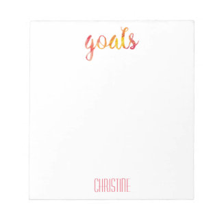 Trendy Red Watercolor Goals Personalized Stylish Notepad