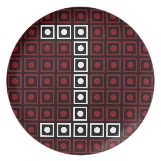 Trendy Red, White & Black 8-bit LED Pixel Number 1 Plate