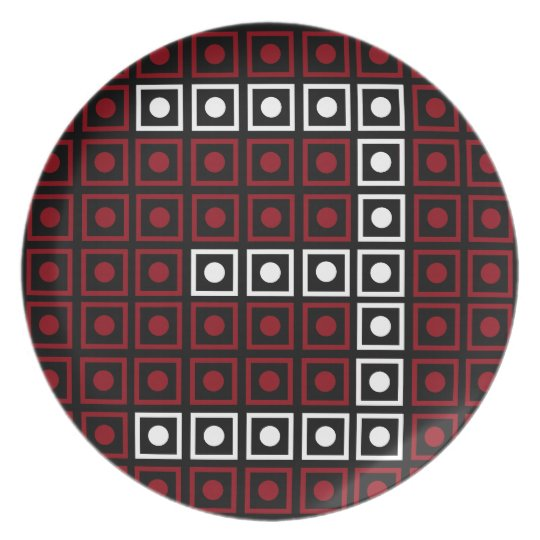 Trendy Red, White & Black 8-bit LED Pixel Number 3 Plate