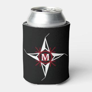 Trendy Red & White North Star Monogram on Black Can Cooler