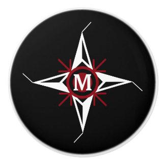 Trendy Red & White North Star Monogram on Black Ceramic Knob