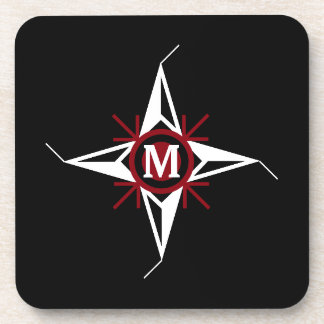 Trendy Red & White North Star Monogram on Black Coaster
