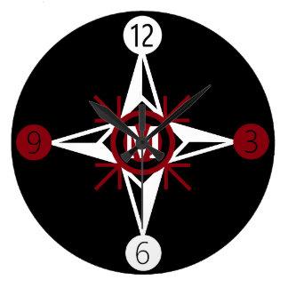 Trendy Red & White North Star Monogram on Black Large Clock