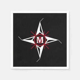 Trendy Red & White North Star Monogram on Black Paper Napkins