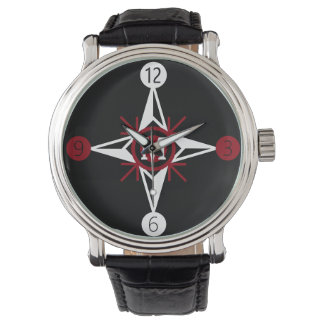 Trendy Red & White North Star Monogram on Black Watch
