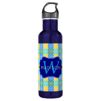 Trendy Resort Fashion Mediterranean Tiles Monogram 710 Ml Water Bottle