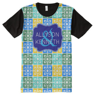 Trendy Resort Fashion Mediterranean Tiles Monogram All-Over Print T-Shirt