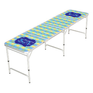 Trendy Resort Fashion Mediterranean Tiles Monogram Beer Pong Table