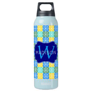Trendy Resort Fashion Mediterranean Tiles Monogram Insulated Water Bottle
