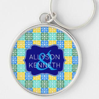 Trendy Resort Fashion Mediterranean Tiles Monogram Key Ring