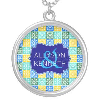 Trendy Resort Fashion Mediterranean Tiles Monogram Silver Plated Necklace