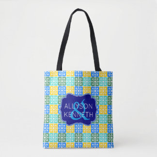 Trendy Resort Fashion Mediterranean Tiles Monogram Tote Bag
