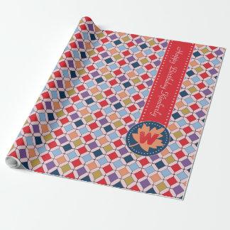 Trendy Retro Autumn Fall Fashion Pattern Monogram Wrapping Paper