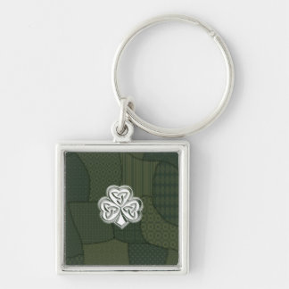 Trendy retro patchwork Irish lucky shamrock Silver-Colored Square Key Ring