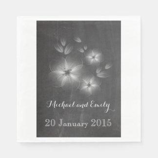 Trendy Romantic vintage floral chalkboard wedding Disposable Napkins